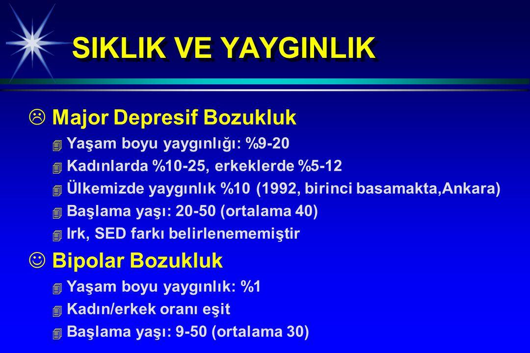 SIKLIK VE YAYGINLIK Major Depresif Bozukluk Bipolar Bozukluk