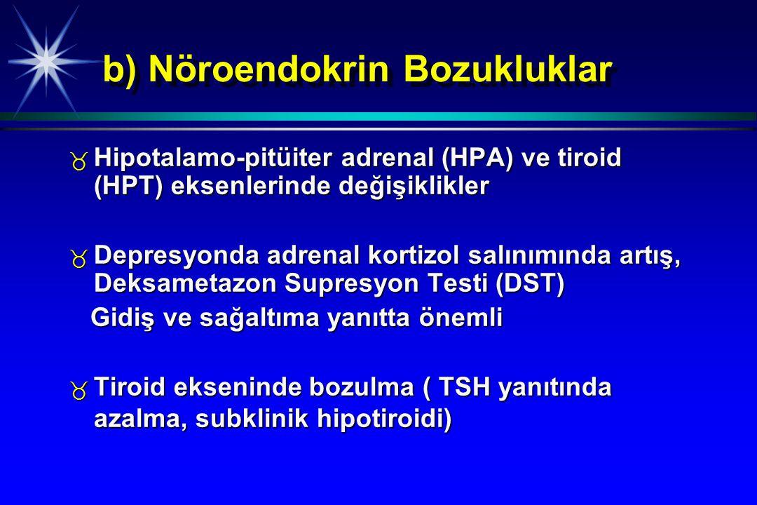 b) Nöroendokrin Bozukluklar