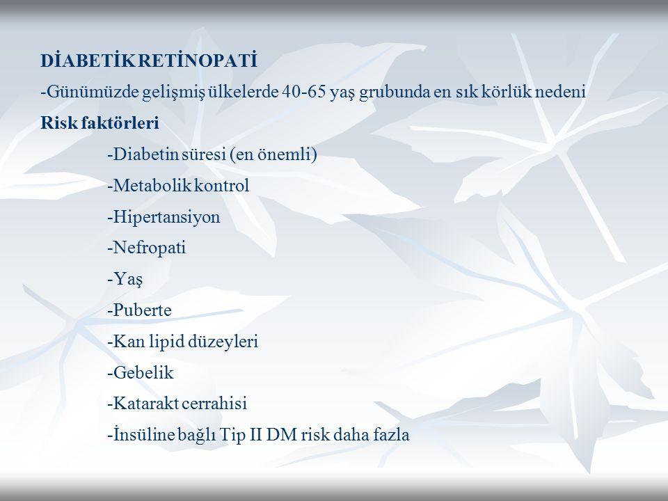 DİABETİK RETİNOPATİ -Günümüzde gelişmiş ülkelerde 40-65 yaş grubunda en sık körlük nedeni Risk faktörleri -Diabetin süresi (en önemli) -Metabolik kontrol -Hipertansiyon -Nefropati -Yaş -Puberte -Kan lipid düzeyleri -Gebelik -Katarakt cerrahisi -İnsüline bağlı Tip II DM risk daha fazla