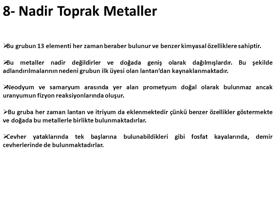 8- Nadir Toprak Metaller