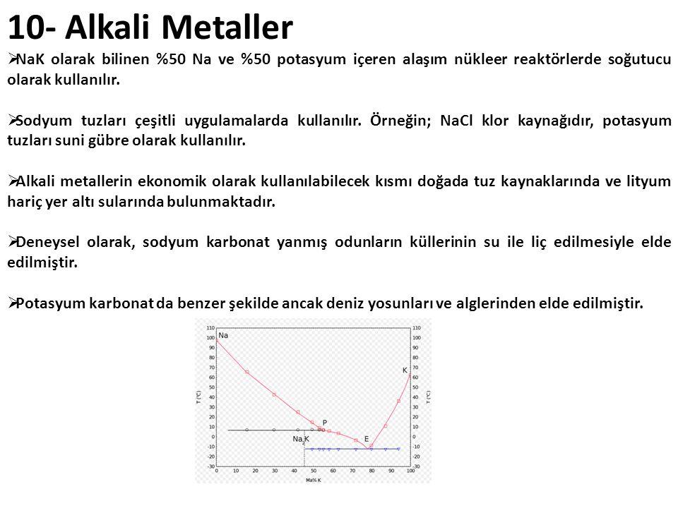 10- Alkali Metaller NaK olarak bilinen %50 Na ve %50 potasyum içeren alaşım nükleer reaktörlerde soğutucu olarak kullanılır.