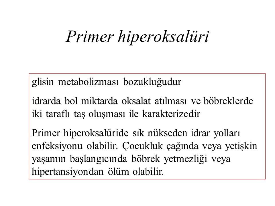 Primer hiperoksalüri glisin metabolizması bozukluğudur