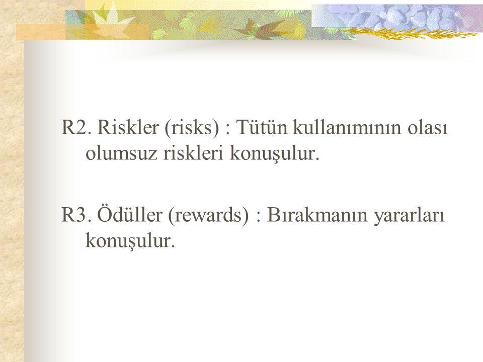 R2. Riskler (risks) : Tütün kullanımının olası olumsuz riskleri konuşulur.