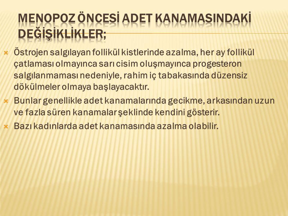 MENOPOZ ÖNCESİ ADET KANAMASINDAKİ DEĞİŞİKLİKLER;