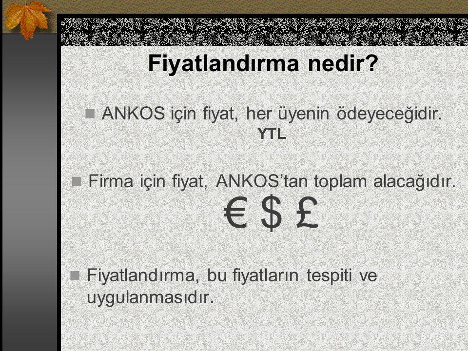 Fiyatlandırma nedir ANKOS için fiyat, her üyenin ödeyeceğidir. YTL