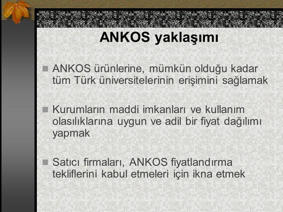 ANKOS yaklaşımı ANKOS ürünlerine, mümkün olduğu kadar tüm Türk üniversitelerinin erişimini sağlamak.