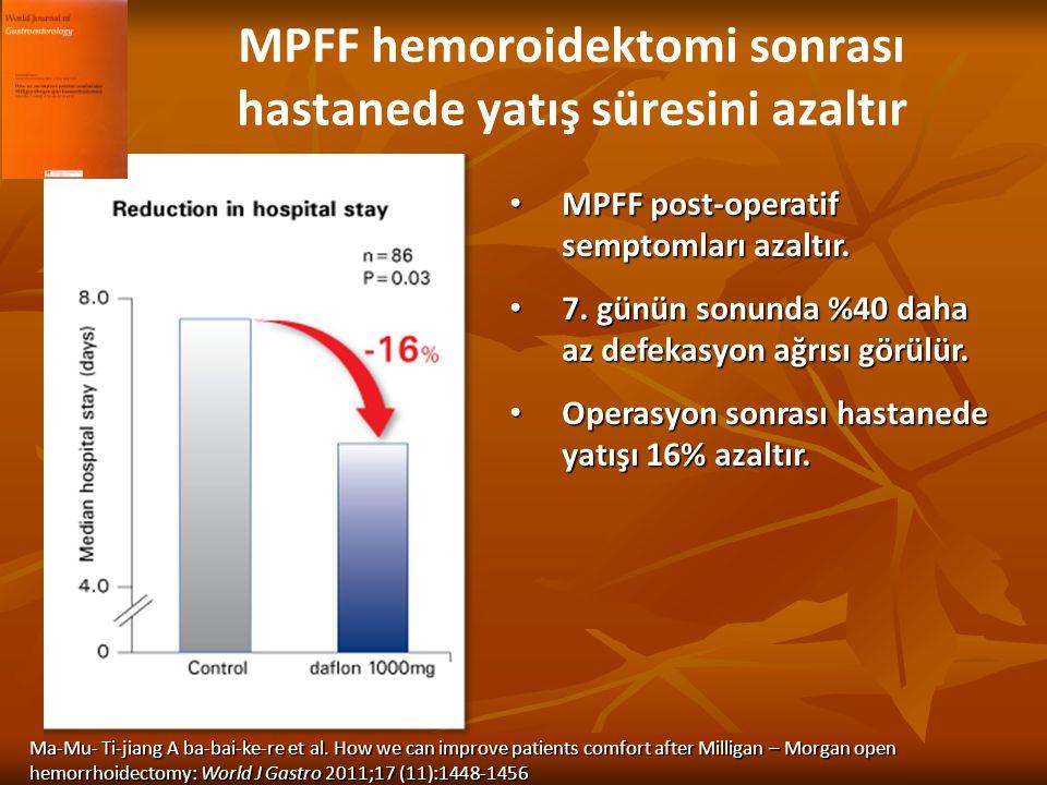 MPFF hemoroidektomi sonrası hastanede yatış süresini azaltır