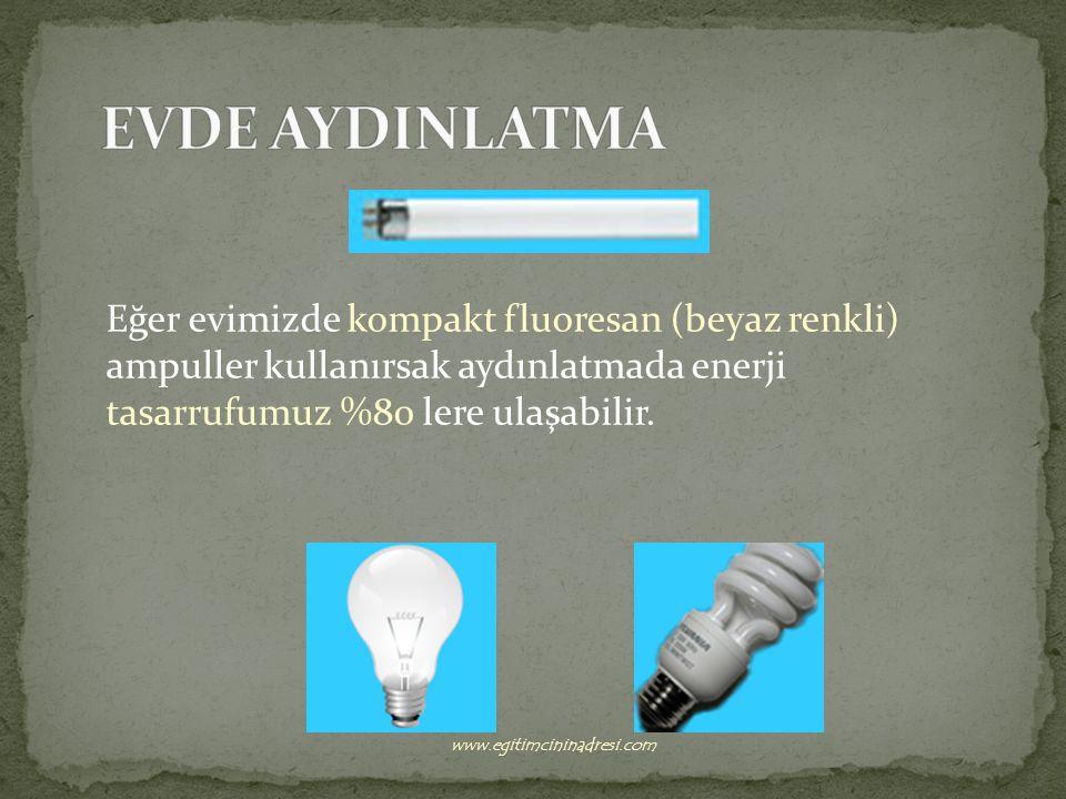EVDE AYDINLATMA Eğer evimizde kompakt fluoresan (beyaz renkli) ampuller kullanırsak aydınlatmada enerji tasarrufumuz %80 lere ulaşabilir.