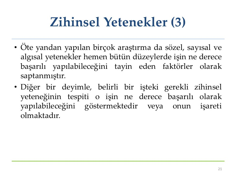 Zihinsel Yetenekler (3)