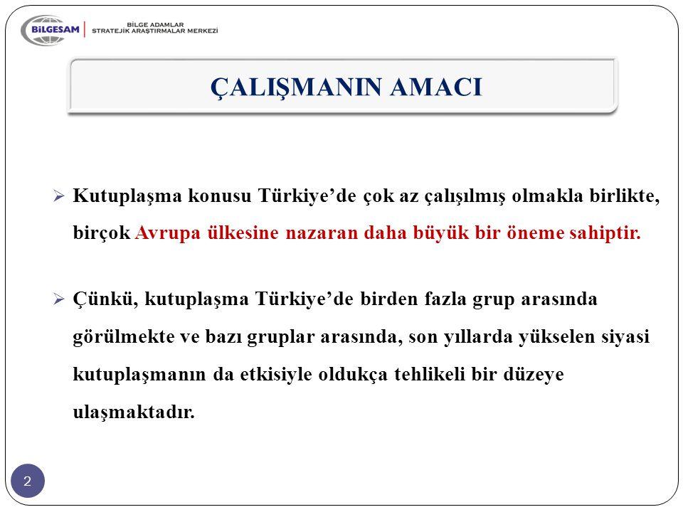 ÇALIŞMANIN AMACI Kutuplaşma konusu Türkiye'de çok az çalışılmış olmakla birlikte, birçok Avrupa ülkesine nazaran daha büyük bir öneme sahiptir.