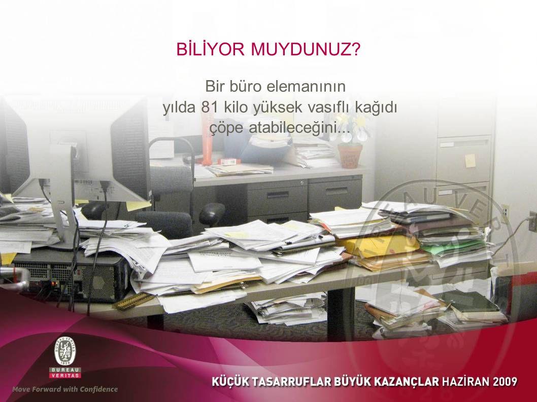 BİLİYOR MUYDUNUZ Bir büro elemanının yılda 81 kilo yüksek vasıflı kağıdı çöpe atabileceğini...
