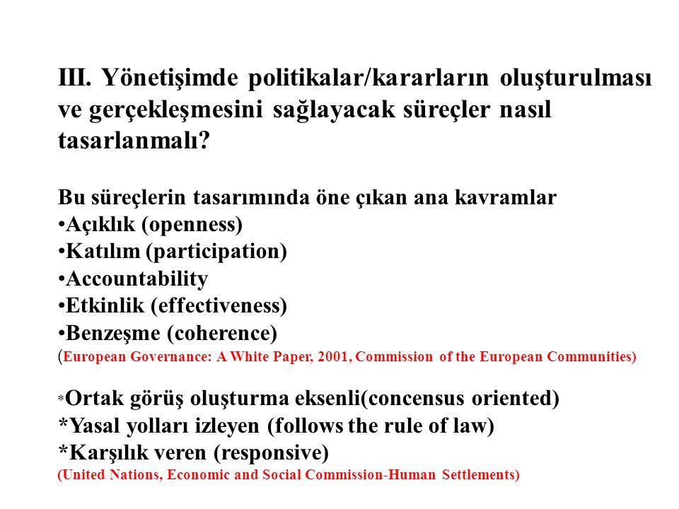 III. Yönetişimde politikalar/kararların oluşturulması