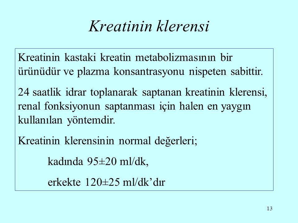 Kreatinin klerensi Kreatinin kastaki kreatin metabolizmasının bir ürünüdür ve plazma konsantrasyonu nispeten sabittir.
