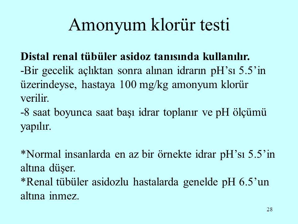 Amonyum klorür testi Distal renal tübüler asidoz tanısında kullanılır.