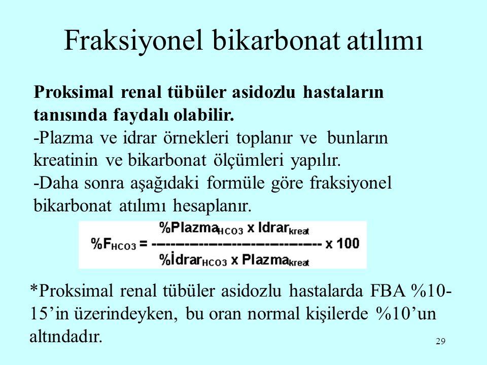 Fraksiyonel bikarbonat atılımı
