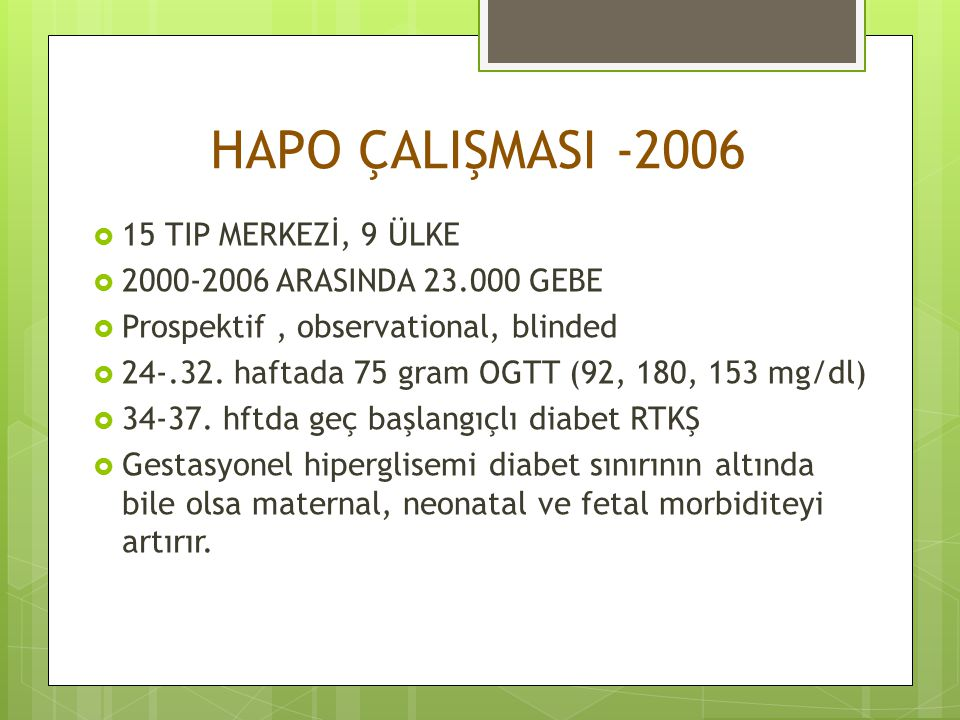 HAPO ÇALIŞMASI -2006 15 TIP MERKEZİ, 9 ÜLKE