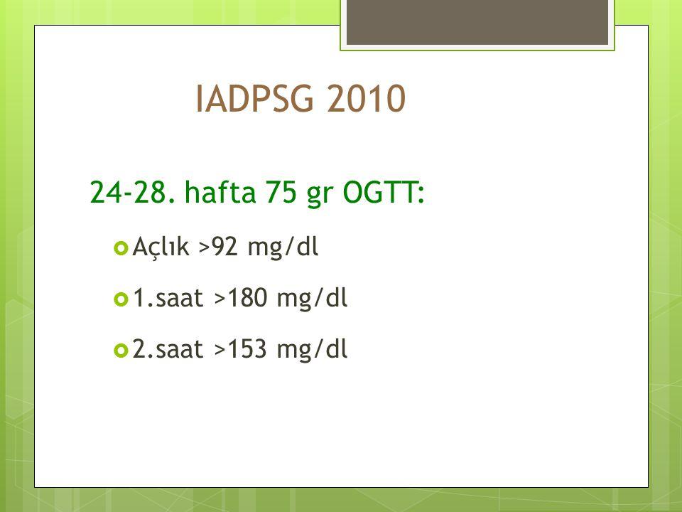 IADPSG 2010 24-28. hafta 75 gr OGTT: Açlık >92 mg/dl