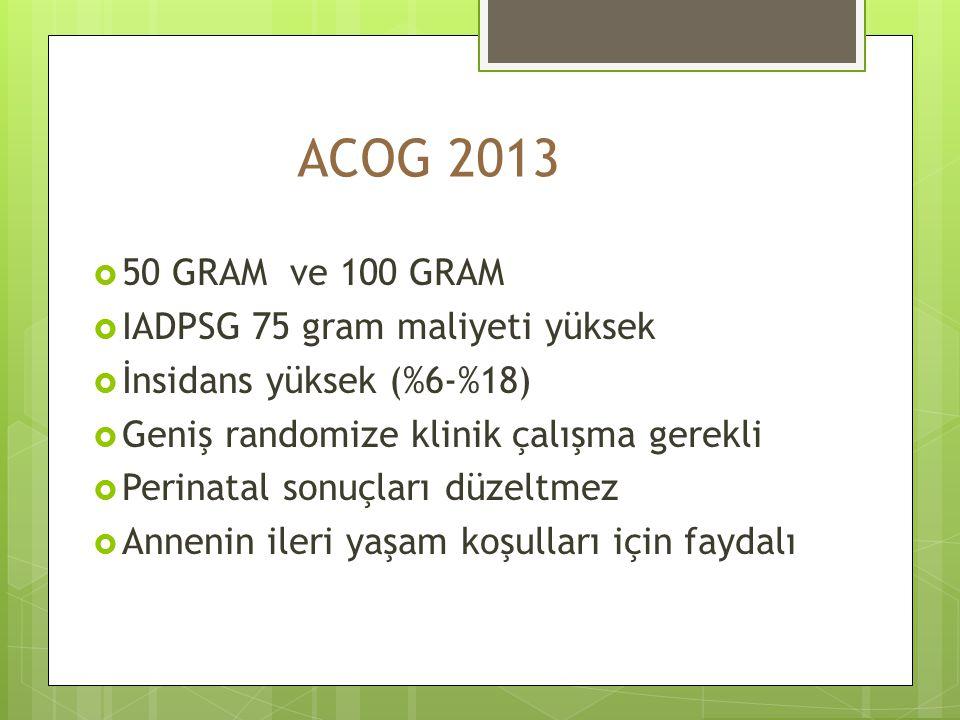 ACOG 2013 50 GRAM ve 100 GRAM IADPSG 75 gram maliyeti yüksek