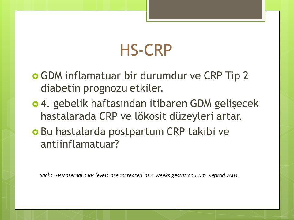 HS-CRP GDM inflamatuar bir durumdur ve CRP Tip 2 diabetin prognozu etkiler.