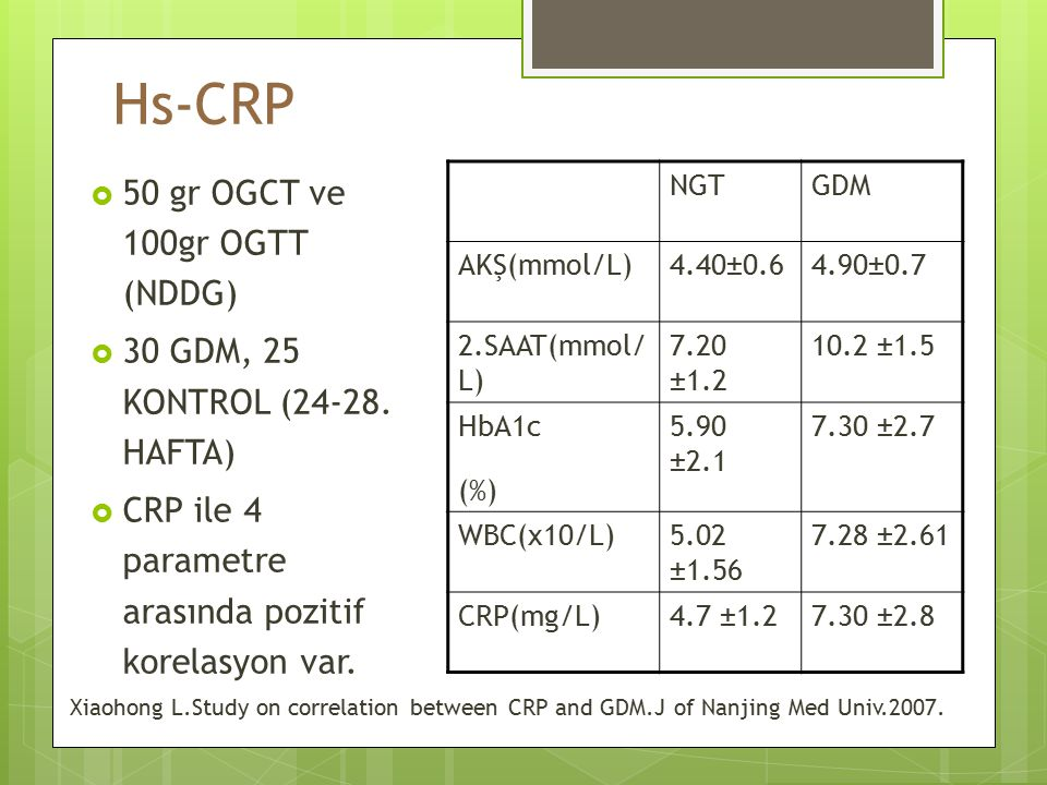 Hs-CRP 50 gr OGCT ve 100gr OGTT (NDDG)