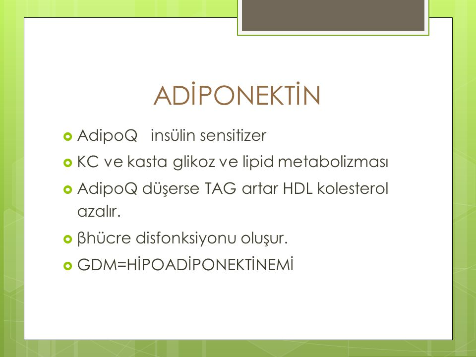 ADİPONEKTİN AdipoQ insülin sensitizer