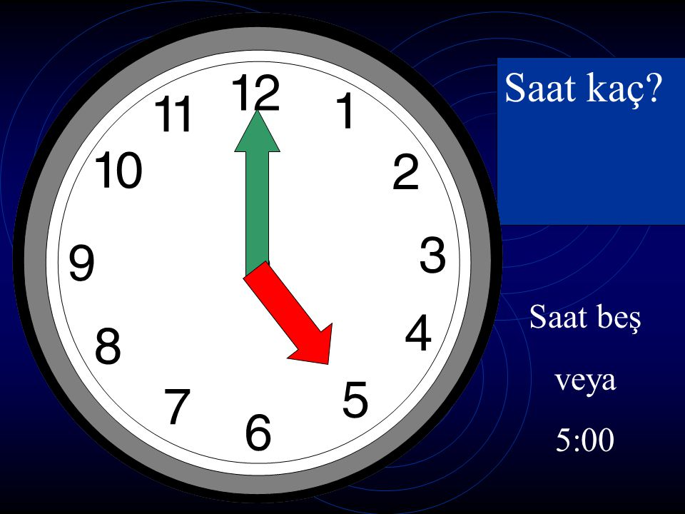 Saat kaç Saat beş veya 5:00