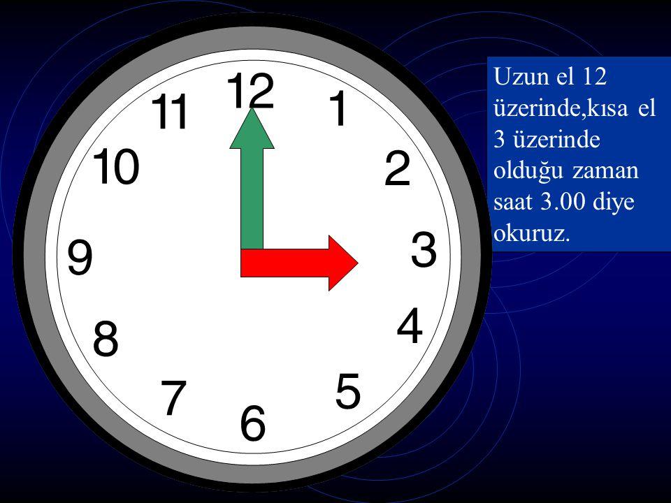 Uzun el 12 üzerinde,kısa el 3 üzerinde olduğu zaman saat 3