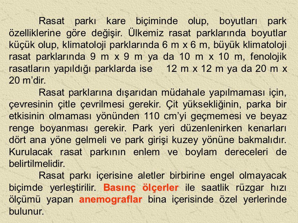 Rasat parkı kare biçiminde olup, boyutları park özelliklerine göre değişir. Ülkemiz rasat parklarında boyutlar küçük olup, klimatoloji parklarında 6 m x 6 m, büyük klimatoloji rasat parklarında 9 m x 9 m ya da 10 m x 10 m, fenolojik rasatların yapıldığı parklarda ise 12 m x 12 m ya da 20 m x 20 m'dir.