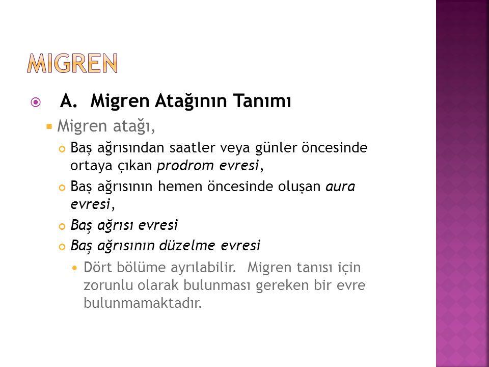 migren A. Migren Atağının Tanımı Migren atağı,