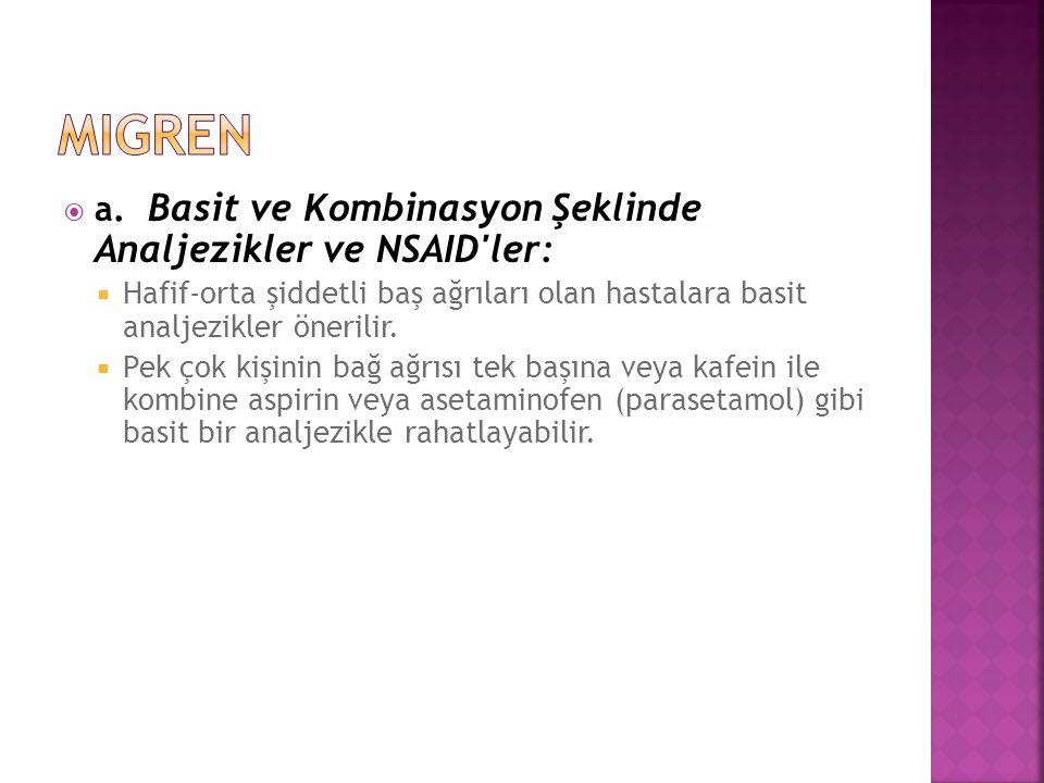 migren a. Basit ve Kombinasyon Şeklinde Analjezikler ve NSAID ler: