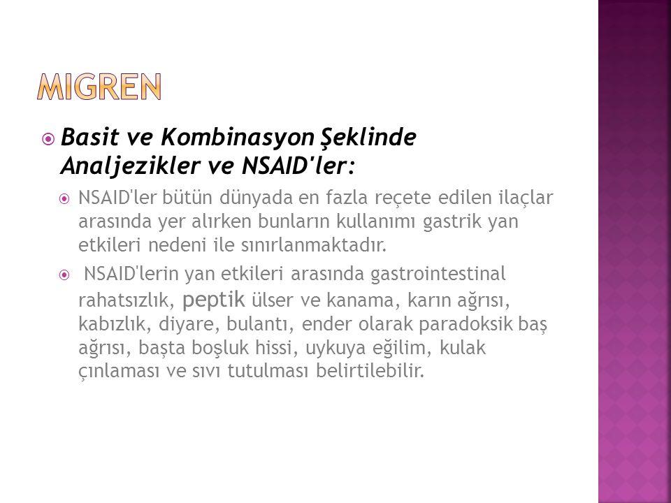 migren Basit ve Kombinasyon Şeklinde Analjezikler ve NSAID ler: