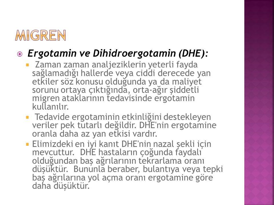 migren Ergotamin ve Dihidroergotamin (DHE):