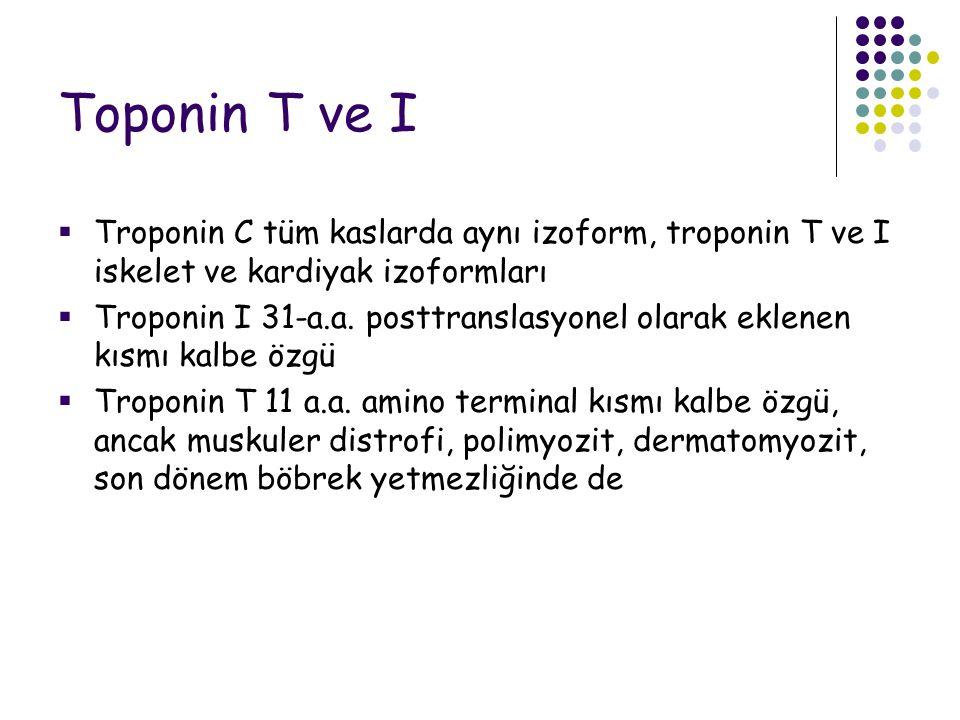 Toponin T ve I Troponin C tüm kaslarda aynı izoform, troponin T ve I iskelet ve kardiyak izoformları.