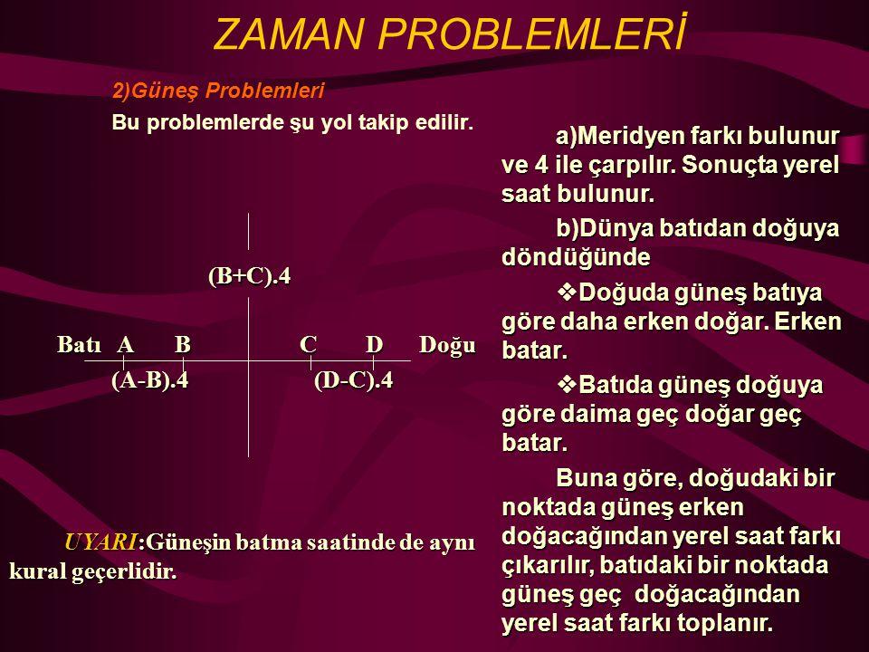 2)Güneş Problemleri Bu problemlerde şu yol takip edilir.