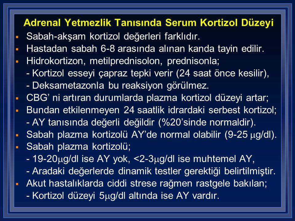 Adrenal Yetmezlik Tanısında Serum Kortizol Düzeyi