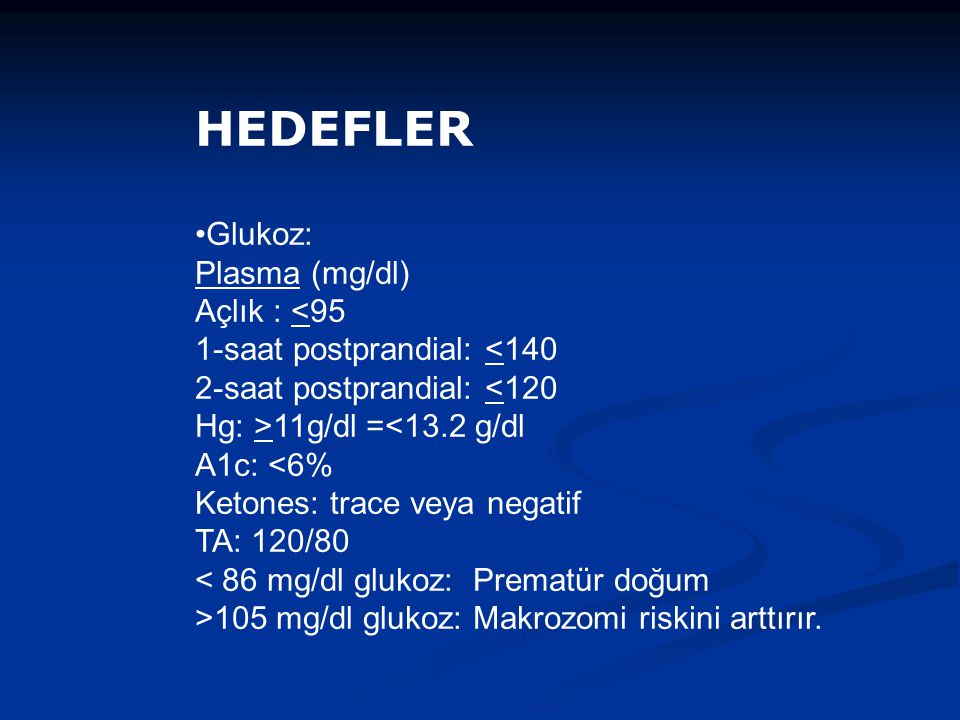 HEDEFLER Glukoz: Plasma (mg/dl)