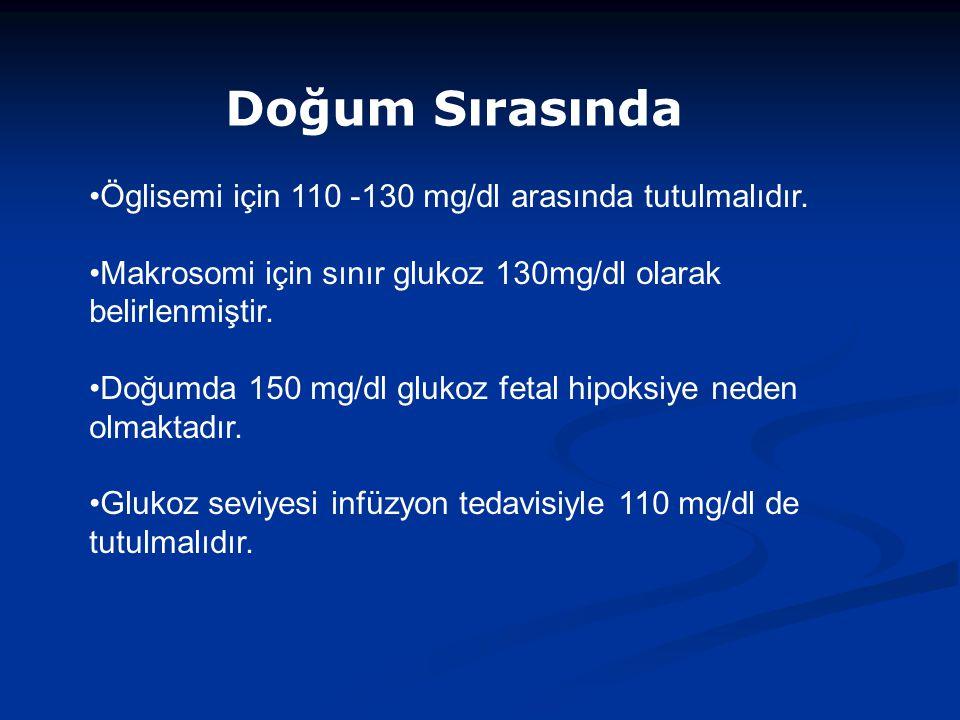 Doğum Sırasında Öglisemi için 110 -130 mg/dl arasında tutulmalıdır.