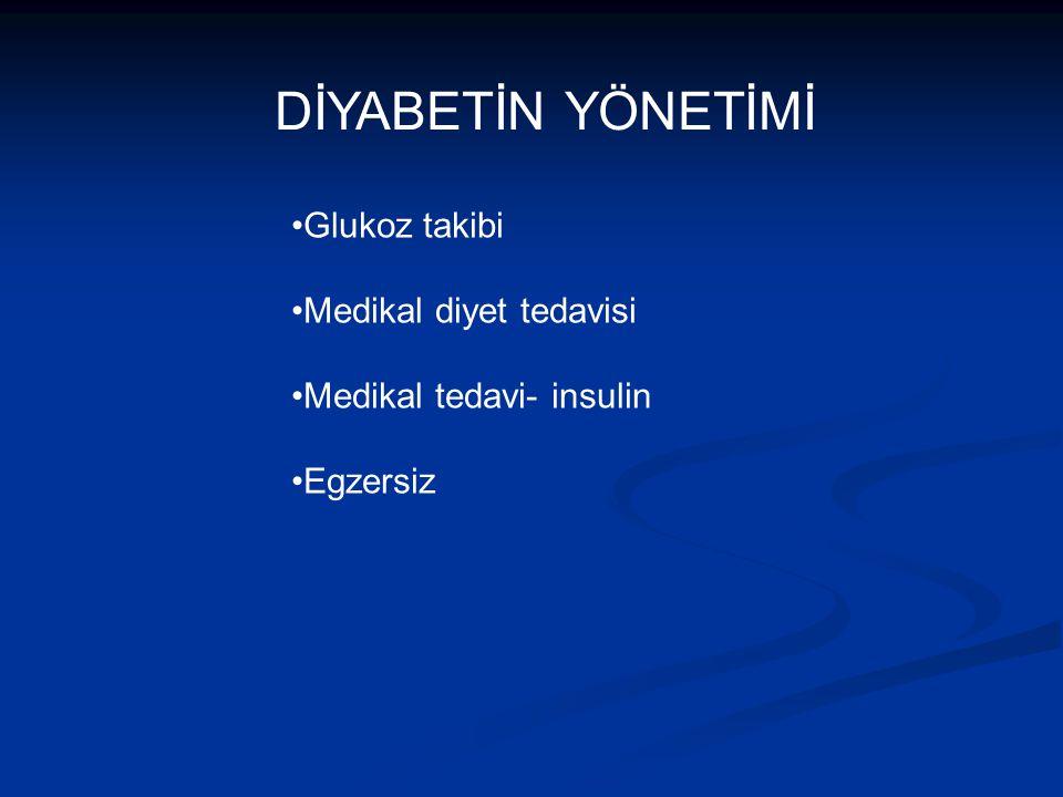 DİYABETİN YÖNETİMİ Glukoz takibi Medikal diyet tedavisi