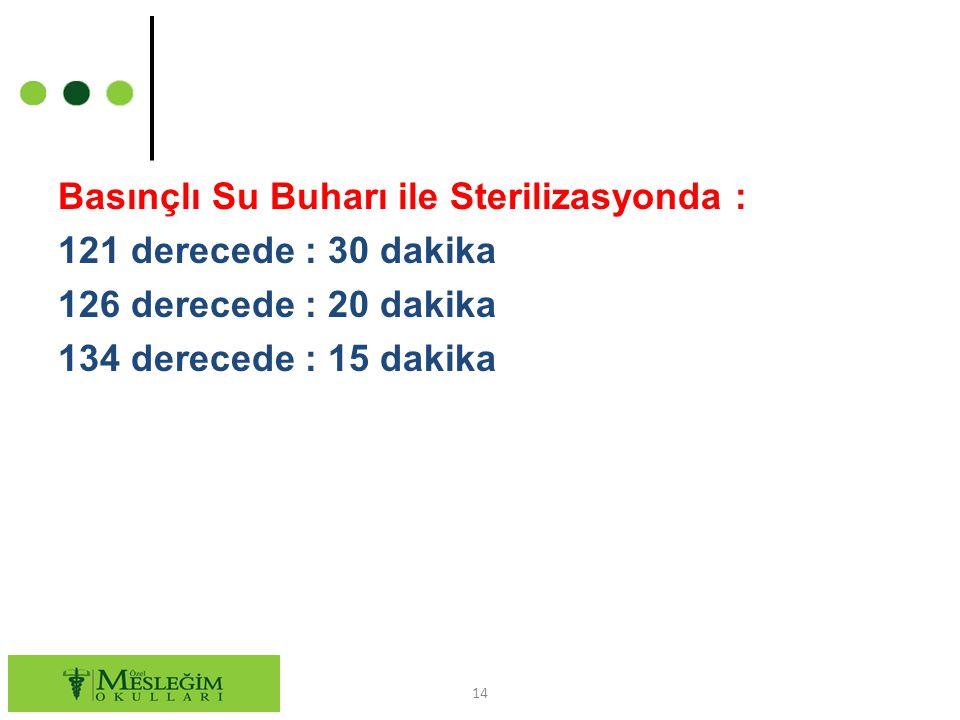 Basınçlı Su Buharı ile Sterilizasyonda : 121 derecede : 30 dakika 126 derecede : 20 dakika 134 derecede : 15 dakika