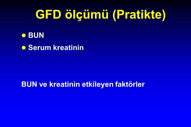 GFD ölçümü (Pratikte) BUN Serum kreatinin