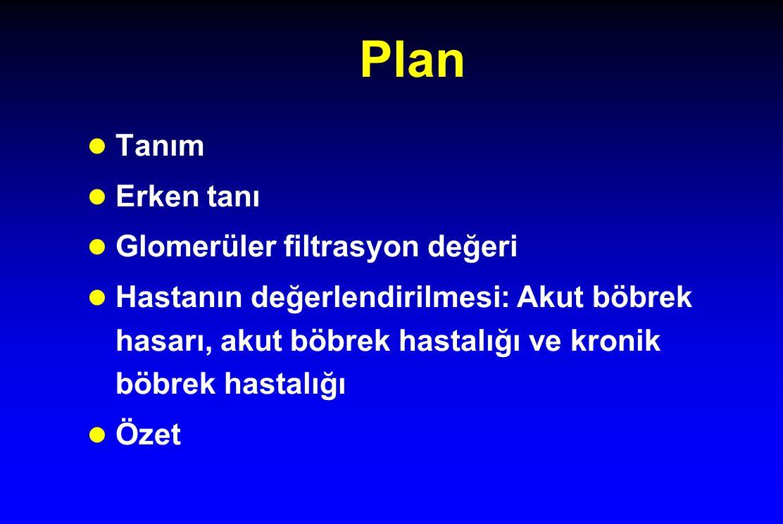 Plan Tanım Erken tanı Glomerüler filtrasyon değeri