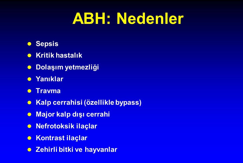 ABH: Nedenler Sepsis Kritik hastalık Dolaşım yetmezliği Yanıklar