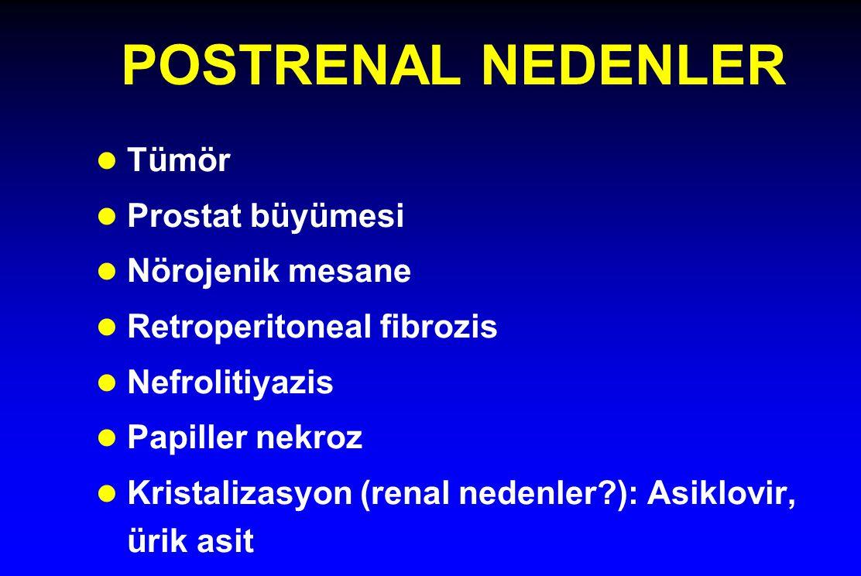 POSTRENAL NEDENLER Tümör Prostat büyümesi Nörojenik mesane
