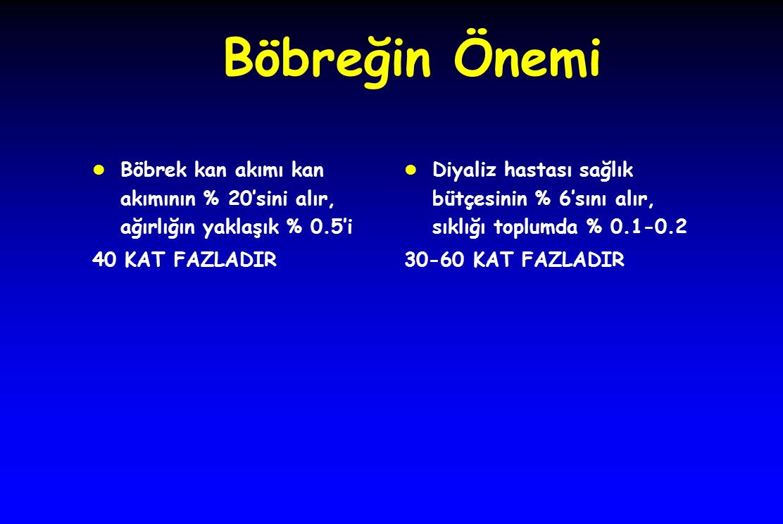 Böbreğin Önemi Böbrek kan akımı kan akımının % 20'sini alır, ağırlığın yaklaşık % 0.5'i. 40 KAT FAZLADIR.