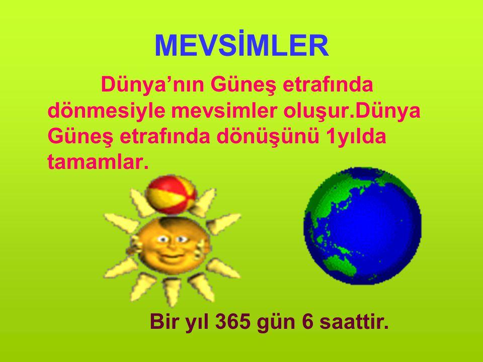 MEVSİMLER Dünya'nın Güneş etrafında dönmesiyle mevsimler oluşur.Dünya Güneş etrafında dönüşünü 1yılda tamamlar.