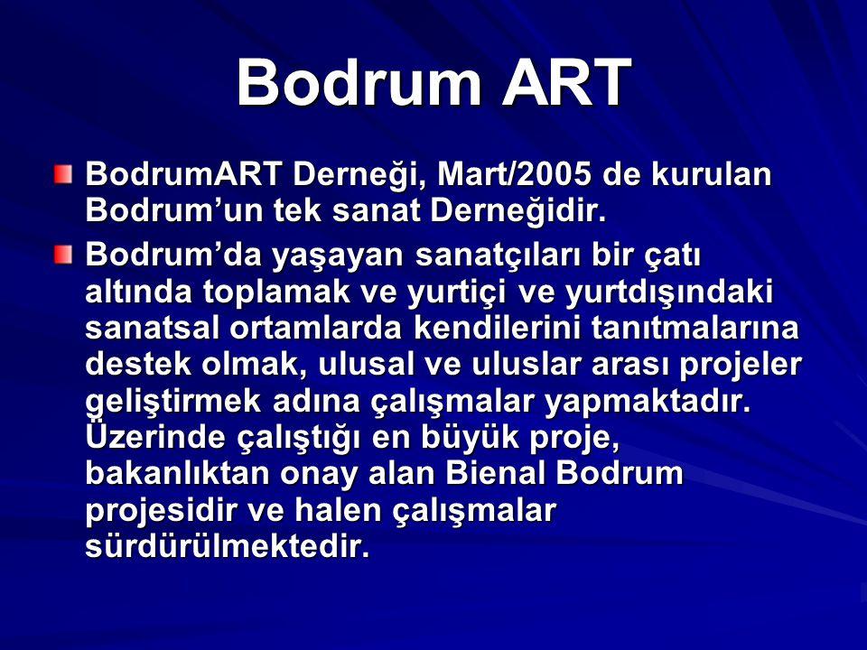 Bodrum ART BodrumART Derneği, Mart/2005 de kurulan Bodrum'un tek sanat Derneğidir.