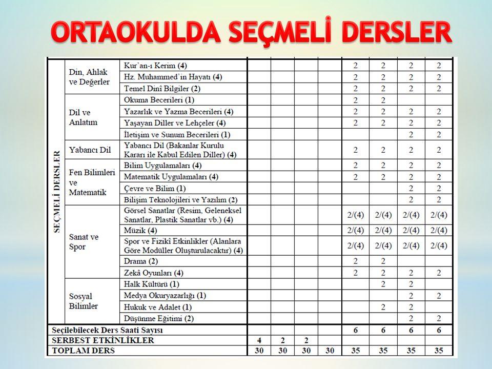 ORTAOKULDA SEÇMELİ DERSLER