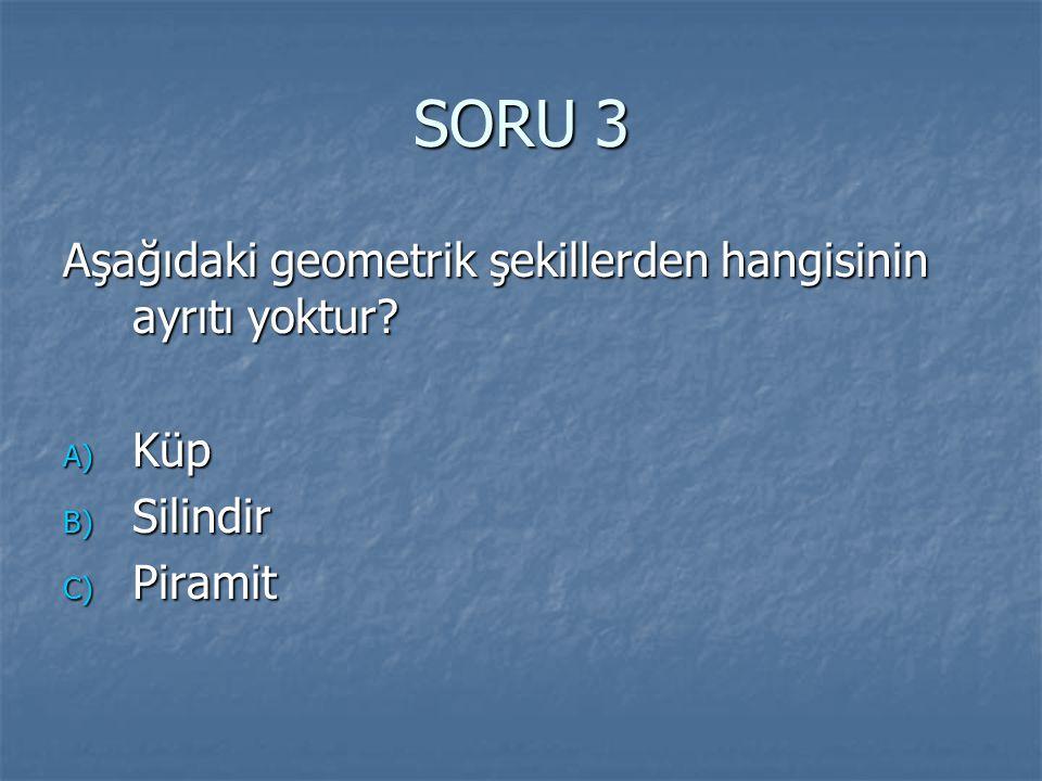 SORU 3 Aşağıdaki geometrik şekillerden hangisinin ayrıtı yoktur Küp