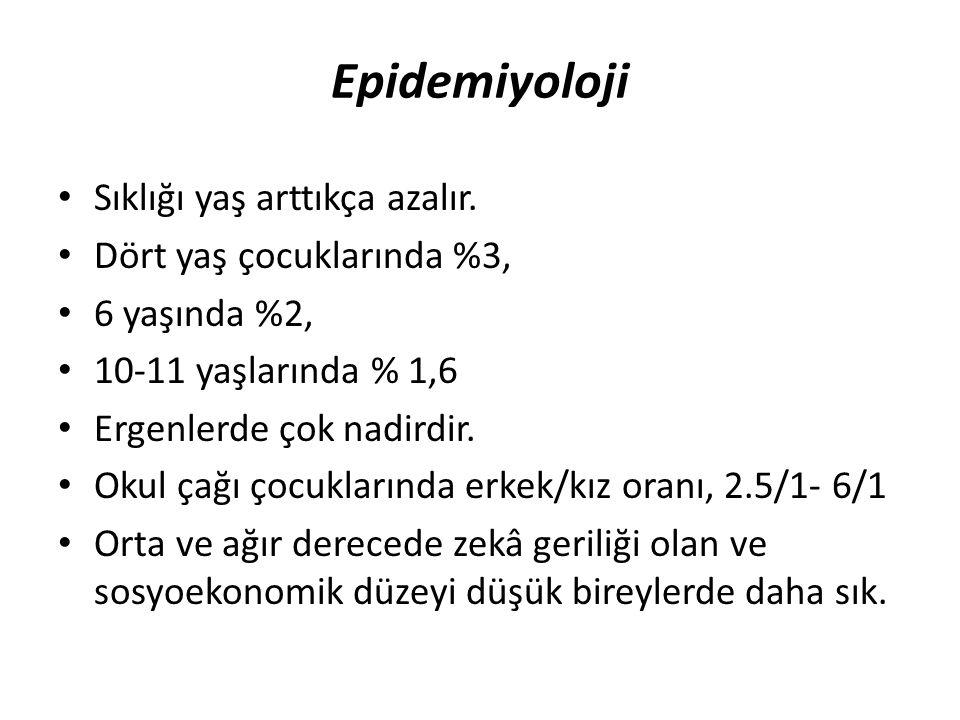 Epidemiyoloji Sıklığı yaş arttıkça azalır. Dört yaş çocuklarında %3,