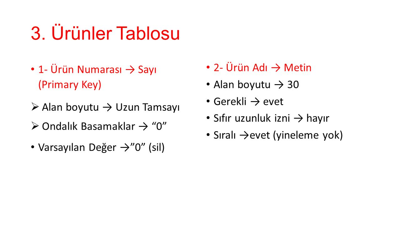 3. Ürünler Tablosu 1- Ürün Numarası → Sayı (Primary Key)
